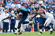 NASHVILLE, TN - OCTOBER 25:  Zach Mettenberger #7 of the Tennessee Titans is tackled by Adrian Clayborn #99 of the Atlanta Falcons at Nissan Stadium on October 25, 2015 in Nashville, Tennessee.  The Falcons defeated the Titans 10-7.  (Photo by Wesley Hitt/Getty Images) *** Local Caption *** Zach Mettenberger; Adrian Clayborn
