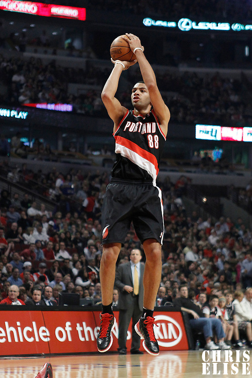 16 March 2012: Portland Trail Blazers small forward Nicolas Batum (88) takes a three point jumpshot during the Portland Trail Blazers 100-89 victory over the Chicago Bulls at the United Center, Chicago, Illinois, USA.