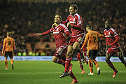 Gastón Ramírez (on loan from Southampton) (Middlesbrough)  and Christian Stuani (Middlesbrough) celebrate the opening goal. 1-0 during the Sky Bet Championship match between Middlesbrough and Wolverhampton Wanderers at the Riverside Stadium, Middlesbrough, England on 4 March 2016. Photo by Mark P Doherty.