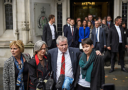 © Licensed to London News Pictures. 24/09/2019. London, UK.  ANNA SOUBRY of Change UK, IAN BLACKFORD, Westminster leader of the SNP, LIZ SAVILLE ROBERTS, Westminster leader of Plaid Cymru, and CAROLINE LUCAS of the Green Party, are seen speaking to media as they leave The Supreme Court in London following a ruling on an appeal against a judicial review of Boris Johnson's suspension of Parliament. The case has been brought by remain campaigner Gina Miller, with support from former British Prime Minister John Major. Photo credit: Ben Cawthra/LNP