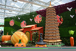 April 26, 2017 - Liaochen, Liaochen, China - Liaocheng, CHINA-April 26 2017: (EDITORIAL USE ONLY. CHINA OUT)..Various cartoon models including pagodas and houses made of fruits and vegetables can be seen at the 6th Agriculture Festival in Liaocheng, east China's Shandong Province, April 26th, 2017. (Credit Image: © SIPA Asia via ZUMA Wire)