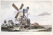 Post Mill with fantail and gallery with access to sails and external mechanism, Wimbledon Common, c1840.