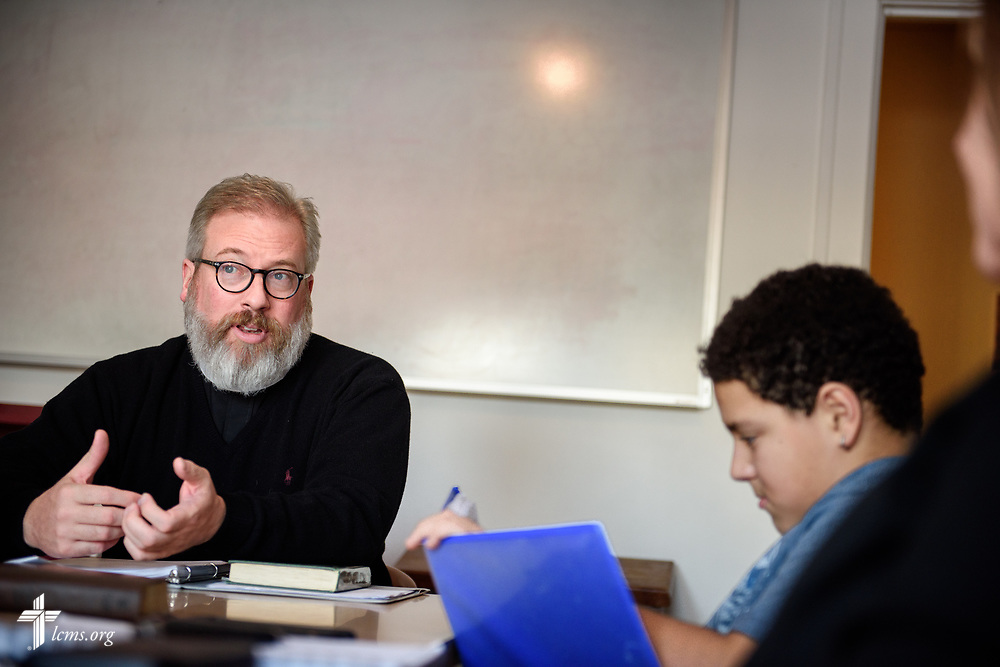 The Rev. David Kind, pastor of University Lutheran Chapel, conducts confirmation class at Luther House on Wednesday, Feb. 21, 2018, next to the University of Minnesota, Twin Cities, in Minneapolis. LCMS Communications/Erik M. Lunsford
