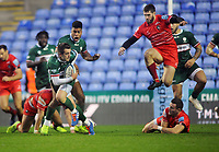 Rugby Union - 2019 / 2020 Gallagher Premiership - London Irish vs. Leicester Tigers<br /> <br /> Tom Parton of London Irish intersepts the ball to run the full length of the pitch to score the final try of the match, at Madejski Stadium.<br /> <br /> COLORSPORT/ANDREW COWIE