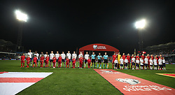 England and Montenegro players line up prior to game