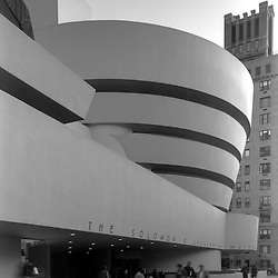 Solomon R. Guggenheim Museum of New York, Frank Lloyd Wright, Architect (1959). Day exterior in black and white, New York City. Located at 1071 Fifth Ave...