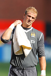 July 16, 2011; San Francisco, CA, USA;  Manchester City goalkeeper Joe Hart (25) during player introductions before the game against Club America at AT&T Park. Manchester City defeated Club America 2-0.