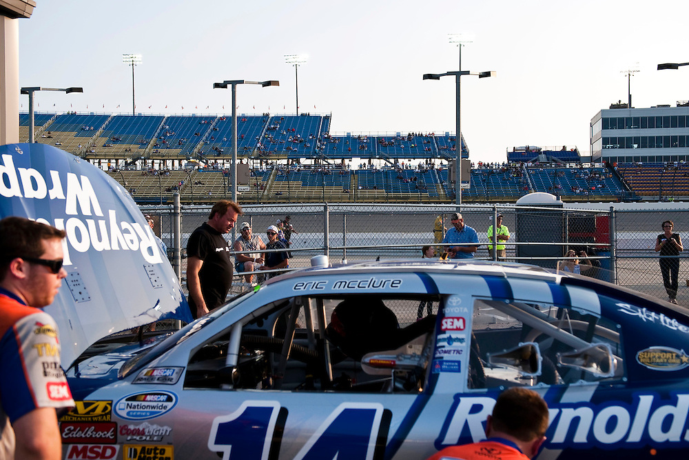 NEWTON, IOWA. -AUG. 1, 2014: NASCAR driver Eric McClure's crew finish up the day of practice for the NASCAR Nationwide Series auto race at Iowa Speedway Friday, Aug. 1, 2014. Lauren Justice for The New York Times