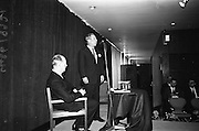 05/04/1965<br /> 04/05/1965<br /> 05 April 1965<br /> Second Irish Export Fashion Fair opened at the Intercontinental Hotel, Dublin. Picture shows Mr J.C.B. McCarthy (left), Secretary, Department of Industry and Commerce, who opened the Fair and Mr W.H. Walsh, General Manager Coras Trachtala, speaking at the opening of the fair.