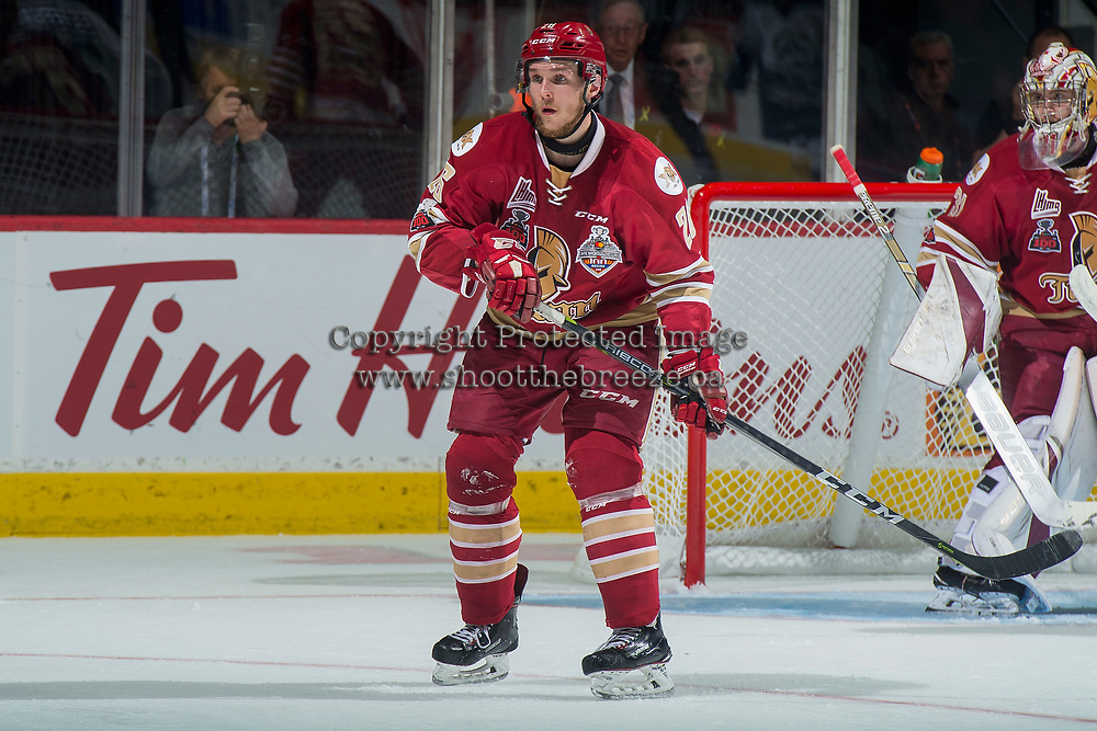 REGINA, SK - MAY 19: Olivier Galipeau #26 of Acadie-Bathurst Titan looks for the pass against the Acadie-Bathurst Titan at the Brandt Centre on May 19, 2018 in Regina, Canada. (Photo by Marissa Baecker/CHL Images)