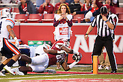 FAYETTEVILLE, AR - OCTOBER 31:  Jeremy Sprinkle #83 of the Arkansas Razorbacks reaches the ball across the goal line for a touchdown during a game against the UT Martin Skyhawks at Razorback Stadium on October 31, 2015 in Fayetteville, Arkansas.  The Razorbacks defeated the Skyhawks 63-28.  (Photo by Wesley Hitt/Getty Images) *** Local Caption *** Jeremy Sprinkle