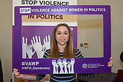 Sioned Treharne (Co-Chair of Plaid Ifanc / Youth) 'Violence Against Women in Politics' Conference, organised by all the UK political parties in partnership with the Westminster Foundation for Democracy, 19th and 20th of March 2018, central London, UK.  (Please credit any image use with: © Andy Aitchison / WFD