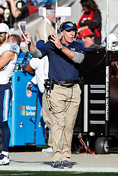 SANTA CLARA, CA - DECEMBER 17: Head coach Mike Mularkey of the Tennessee Titans argues a call on the sidelines during the second quarter against the San Francisco 49ers at Levi's Stadium on December 17, 2017 in Santa Clara, California.  (Photo by Jason O. Watson/Getty Images) *** Local Caption *** Mike Mularkey