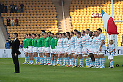 Racing 92 line up fro the national anthem of France ahead of the Natixis Cup rugby match between French team Racing 92 and New Zealand team Otago Highlanders at Sui San Wan Stadium in Hong Kong.