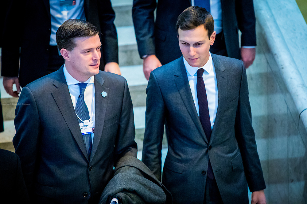 Rob Porter and Jared Kushner on their way to listen to US President Donald Trump speech on the final day of the World Economic Forum – WEF – in Davos. Rob Porter would be fired from his job as White House Staff Secretary few days after this image was taken, over to accusations of domestic violence. Jared Kushner serves as a senior advisor to his father-in-law, President Donald Trump, but has had his access restricted recently by the White House Chief of Staff, John Kelly. Kushner, who has benefited from a temporary security clearance up until the end of February 2018, will no longer have access to meetings and communications that require top level security clearance.