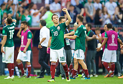 MOSCOW, RUSSIA - Sunday, June 17, 2018: Mexico's Andres Guardado celebrates after the 1-0 victory over Germany during the FIFA World Cup Russia 2018 Group F match between Germany and Mexico at the Luzhniki Stadium. (Pic by David Rawcliffe/Propaganda)