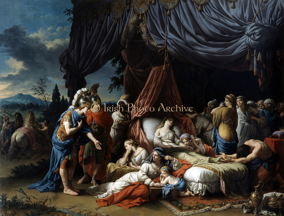Alexander the Great at the Deathbed of the wife of Darius III' 1785. Oil on canvas. Louis Lagrenee (1725-1805) French Neo-Classical painter. Stateira (399-c331BC), captured at Battle of Issus 333BC surrounded by grieving household.   Persia.