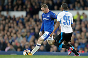 Everton striker Wayne Rooney (10) andApollon Limassol midfielder Alef Do Santos (95) during the Europa League match between Everton and Apollon Limassol at Goodison Park, Liverpool, England on 28 September 2017. Photo by Craig Galloway.