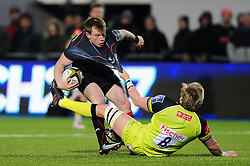 Nick Tompkins of Saracens is tackled by Luke Hamilton of Leicester Tigers - Mandatory byline: Patrick Khachfe/JMP - 07966 386802 - 05/02/2017 - RUGBY UNION - Allianz Park - London, England - Saracens v Leicester Tigers - Anglo-Welsh Cup.