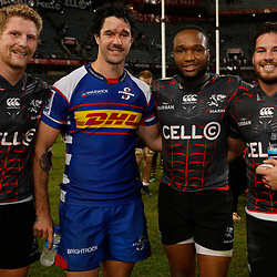 Robert du Preez of the Cell C Sharks with EW Viljoen of The DHL Stormers Lukhanyo Am of the Cell C Sharks and Marius Louw of the Cell C Sharks during the Super rugby match between the Cell C Sharks and the DHL Stormers at Jonsson Kings Park ,Durban,South Africa.20,04,2018 (Photo by AL NICOLL -Steve Haag Sports)