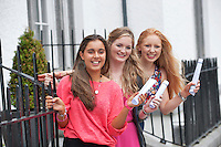 14/08/2013 Amelia Hogan (575), Sorcha Egan (580 pts) and Donegal girl Ciara McGarvey  who moved to Galway to repeat her leaving certificate at Yeats College and got 610pts. with their leaving certificate results. Photo:Andrew Downes