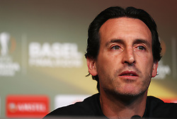 BASEL, SWITZERLAND - Tuesday, May 17, 2016: Sevilla's Unai Emery during a press conference ahead of the UEFA Europa League Final against Liverpool FC at St. Jakob-Park. (Pic by UEFA/Pool/Propaganda)