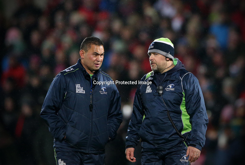 Guinness PRO12, Kingspan Stadium, Belfast 26/12/2014<br /> Ulster vs Connacht<br /> Connacht head coach Pat Lam and forwards coach Dan McFarland<br /> Mandatory Credit &copy;INPHO/James Crombie