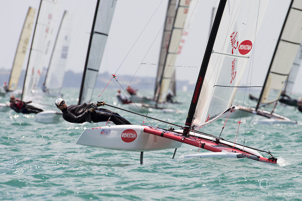 Stephen Brayshaw (AUS25), the start of race four of the A Class World championships regatta being sailed at Takapuna in Auckland. 12/2/2014