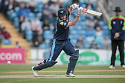 Joe Root (Yorkshire CCC) hits the ball out on the offside for a couple of runs during the Royal London 1 Day Cup match between Yorkshire County Cricket Club and Durham County Cricket Club at Headingley Stadium, Headingley, United Kingdom on 3 May 2017. Photo by Mark P Doherty.