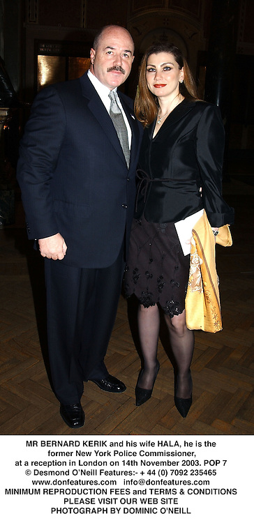 MR BERNARD KERIK and his wife HALA, he is the former New York Police Commissioner, at a reception in London on 14th November 2003.POP 7