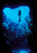 A snorkeller ascends in to a large air bubble in Mariners cave, Vava'u islands, Tonga