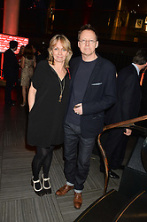 SIMON MAYO and his wife HILARY at the Costa Book of The Year Awards held at Quaglino's, 16 Bury Street, London on 26th January 2016.