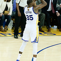 04 June 2017: Golden State Warriors forward Kevin Durant (35) takes a jump shot during the Golden State Warriors 132-113 victory over the Cleveland Cavaliers, in game 2 of the 2017 NBA Finals, at the Oracle Arena, Oakland, California, USA.