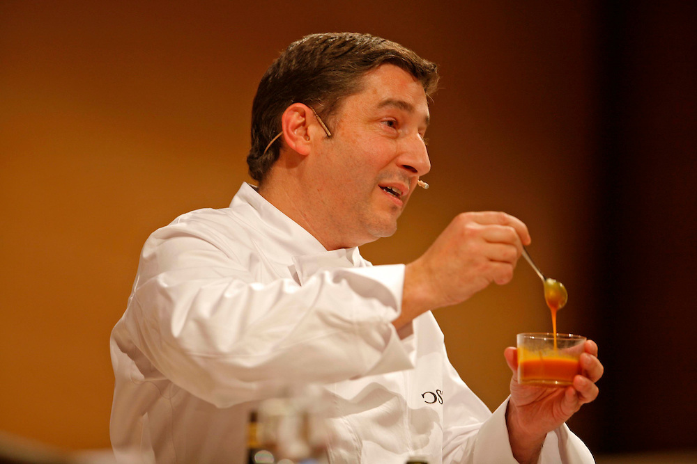 The best Catalan cooks of the guide Michelin. Chefs Joan Roca from restaurant El Celler de Can Roca, in a gastronomical exhibition.