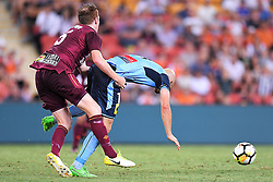 January 8, 2018 - Brisbane, QUEENSLAND, AUSTRALIA - Corey Brown of the Roar (5, left) fouls Adrian Mierzejewski of Sydney (11) during the round fifteen Hyundai A-League match between the Brisbane Roar and Sydney FC at Suncorp Stadium on Monday, January 8, 2018 in Brisbane, Australia. (Credit Image: © Albert Perez via ZUMA Wire)