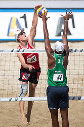 30.07.2014, Strandbad, Klagenfurt, AUT, FIVT, A1 Beachvolleyball Grand Slam 2014, Hauptrunde, im Bild Jörg Wutzl (AUT) gegen Evandro Goncalves Oliveira (BRA) // during Main Draw Match of the A1 Beachvolleyball Grand Slam at the Strandbad Klagenfurt, Austria on 2014/07/30. EXPA Pictures © 2014, EXPA Pictures © 2014, PhotoCredit: EXPA/ Johann Groder