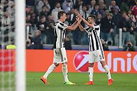 18.10.2017 - Torino - Champions League   -  Juventus-Sporting Lisbona nella  foto: Miralem Pjanic e Mario Mandzukic esultano dopo il gol