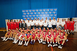 Players with coaches, legends and representatives of KZS and BWB at Basketball Without Borders Europe for prospects under 17 with best coaches and some NBA legends on August 8, 2011, in Hala Tivoli, Ljubljana, Slovenia. (Photo by Matic Klansek Velej / Sportida)