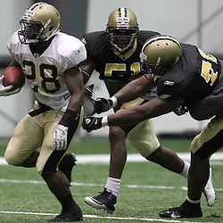 August 5, 2011; Metairie, LA, USA; New Orleans Saints running back Mark Ingram runs during training camp practice at the New Orleans Saints practice facility. Mandatory Credit: Derick E. Hingle