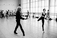 Choreographer Peter Martins and NYC ballet in Copenhagen. The dancers rehearsal is for George Balanchine's The Four Temperaments.  Indiana Woodward, member of the corps de ballet.