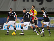 Dundee&rsquo;s Kostadin Gadzhalov holds off Partick Thistle's Daniel Devine - Partick Thistle v Dundee in the Ladbrokes Scottish Premiership at Firhill, Glasgow - Photo: David Young, <br /> <br />  - &copy; David Young - www.davidyoungphoto.co.uk - email: davidyoungphoto@gmail.com
