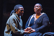 17/05/2012. London, UK.  Featuring a magnificent score played by an orchestra of marimbas and steel pans together with the world-class voices and extraordinary acting talent of the Ensemble. Picture shows: Mhlekazi 'Wha Wha' Mosiea and Pauline Malefane in La Bohéme.