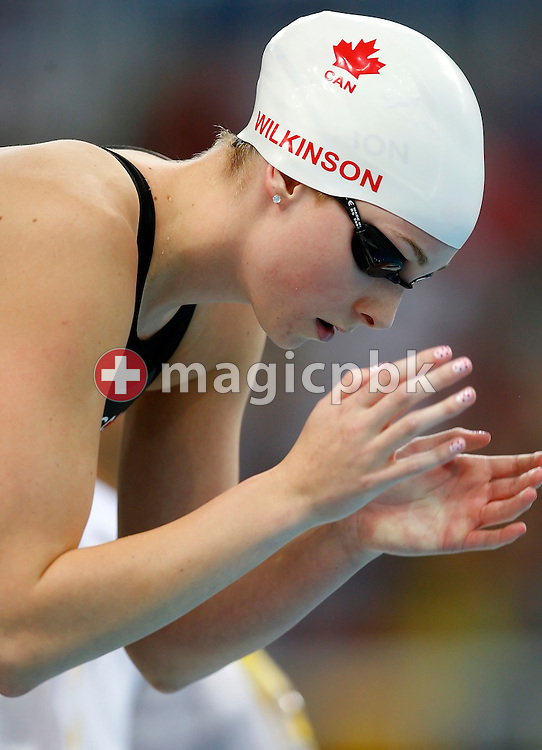Julia WILKINSON of Canada prepares herself before swimming on the forth leg in the Women's 4x200m Freestyle Relay Heats held at the National Aquatics Center (Water Cube) at the Beijing 2008 Olympic Games in Beijing, China, Wednesday, Aug. 13, 2008. (Photo by Patrick B. Kraemer / MAGICPBK)