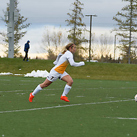 3rd year forward Brianna Wright (7) of the Regina Cougars in action during the Women's Soccer home game on October 7 at U of R Field. Credit: Arthur Ward/Arthur Images