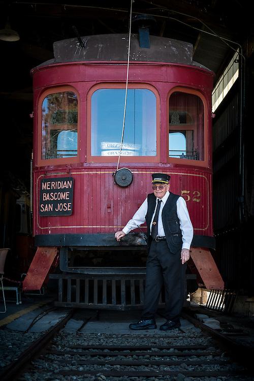 Walt Vielbaum with the Western Railway Museum's San Jose Peninsular Raiway Streetcar 52   April 23, 2014
