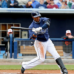 Mar 2, 2013; Port Charlotte, FL, USA; Tampa Bay Rays shortstop Yunel Escobar (11) during a spring training game against the Baltimore Orioles at Charlotte Sports Park. Mandatory Credit: Derick E. Hingle-USA TODAY Sports