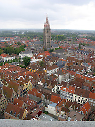 Aerial view of Bruges, with red roofs, West Flanders, Belgium