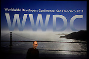 Steve Jobs at WWDC 2011 with the Golden Gate Bridge San Francisco in the background