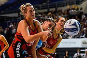 Ellie Bird of the Tactix and Te Huinga Reo Selby-Rickit of the Steel fight for the ball with Kate Beveridge of the Tactix during the ANZ Premiership Netball match, Tactix v Steel, Horncastle Arena, Christchurch, New Zealand, 15th May 2019.Copyright photo: John Davidson / www.photosport.nz