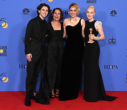Laurie Metcalf, Saoirse Ronan, Greta Gerwig, Timothee Chalamet at the 75th Annual Golden Globe Awards held at the Beverly Hilton Hotel on January 7, 2018 in Beverly Hills, CA ©Tammie Arroyo-GG18/AFF-USA.com. 07 Jan 2018 Pictured: Laurie Metcalf, Saoirse Ronan, Greta Gerwig, Timothee Chalamet. Photo credit: MEGA TheMegaAgency.com +1 888 505 6342